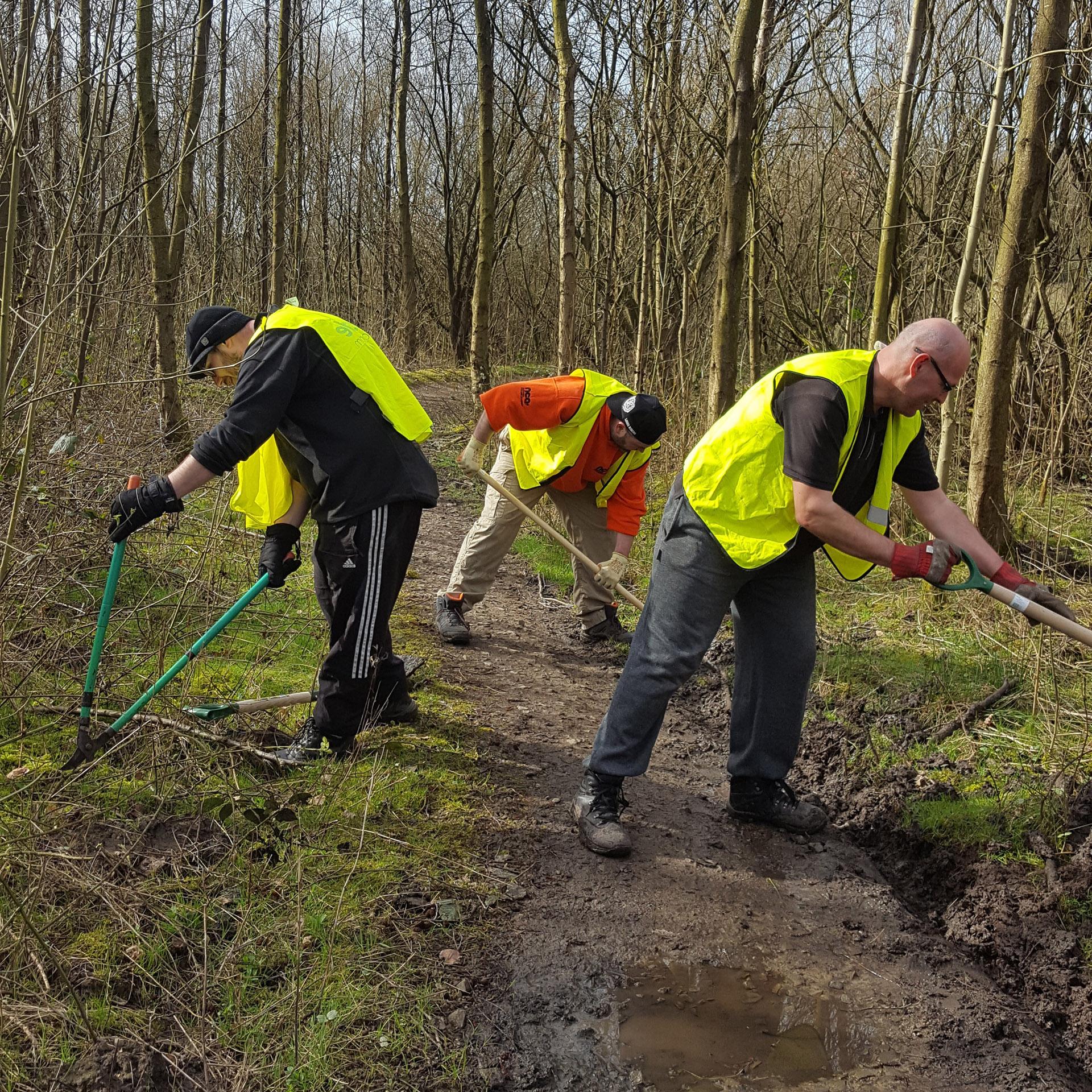 volunteer bicycling trail maintenance